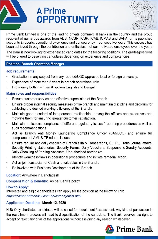Job Circular: Recruitment of Branch Manager by Prime Bank Ltd.