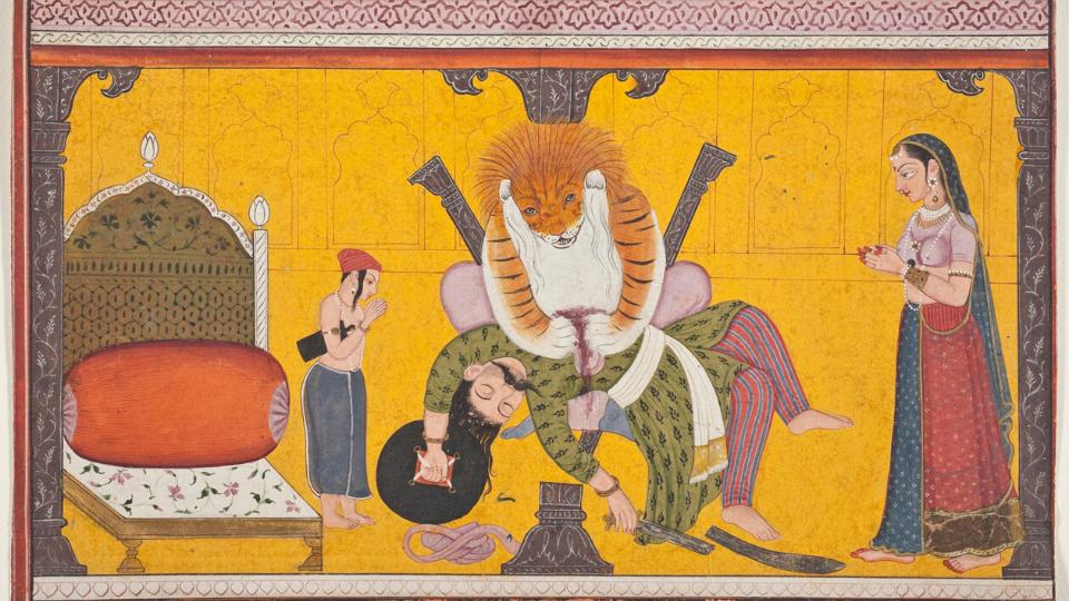 Narasimha(Prahlada Katha) - Lord Vishnu becoming Narasimha appeared from the pillar and killed Hiranyakashipu