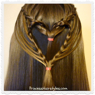 Pretty streaming heart hairstyle for Valentine's Day, Video tutorial