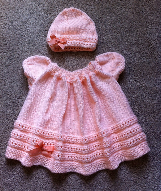 Peachy Baby Dress and Hat Free Knitting Pattern