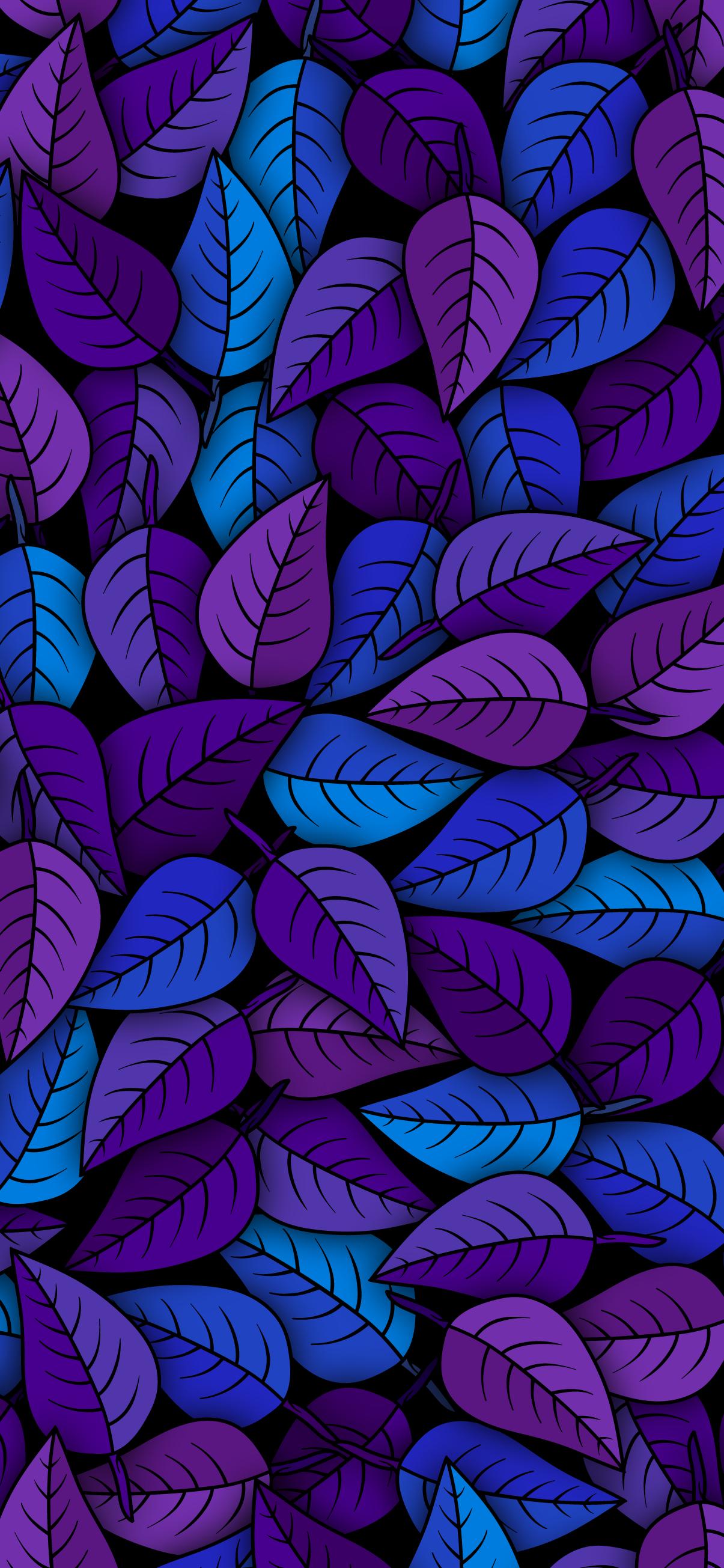 LEAF PATTERN FOLIAGE BLUE PURPLE aesthetic