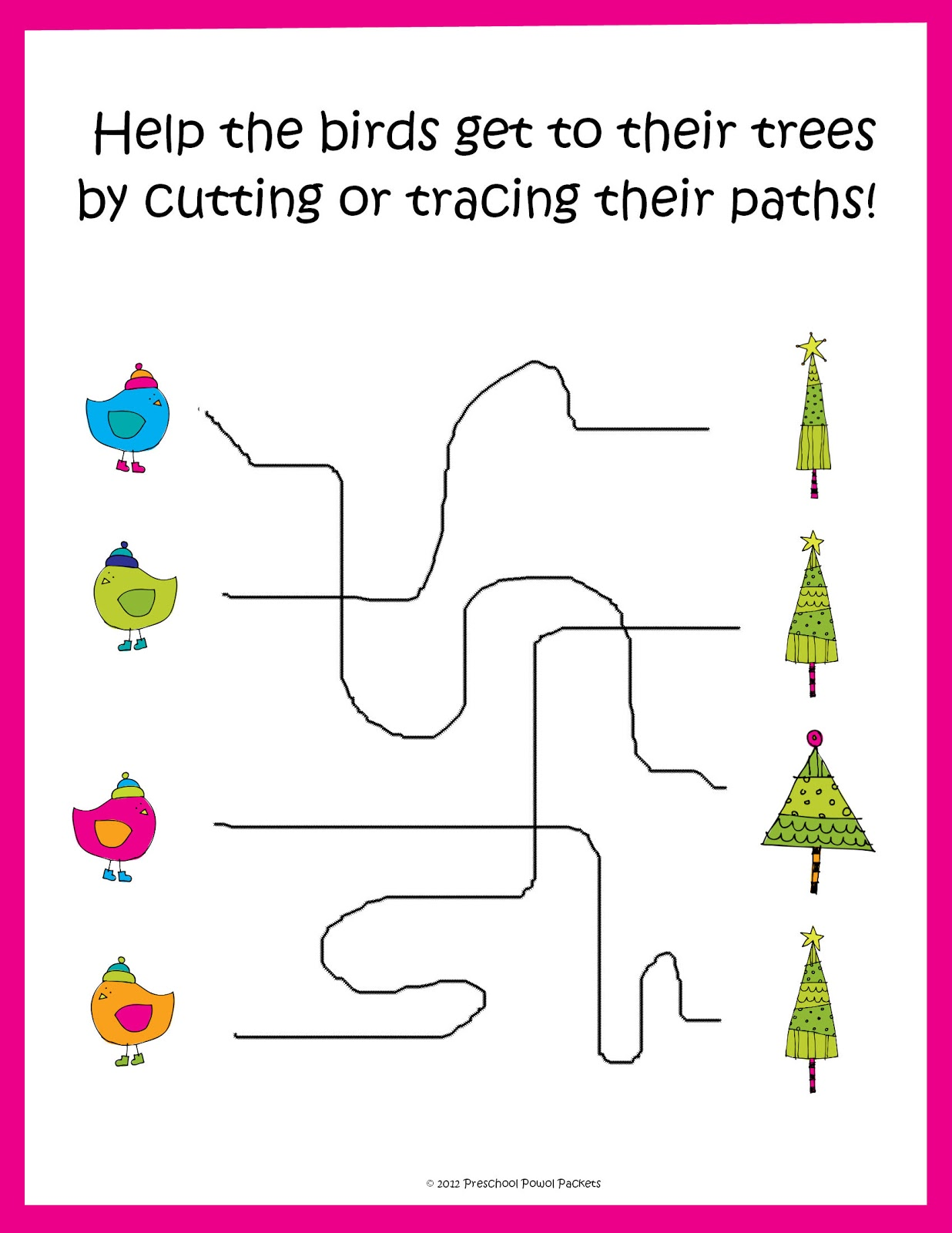 Free Christmas Tracing Cutting Practice