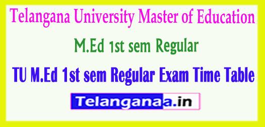 TU M.Ed Telangana University M.Ed 1st sem Regular Exam 2018 Time Table