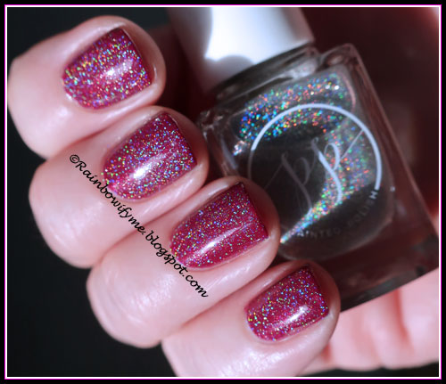 """Layla Ceramic Effect """"23 Wine Desire"""" with one coat of Painted Polish's """"Diamond Dust"""" on top"""