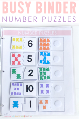 Number Puzzles Busy Binder Activity
