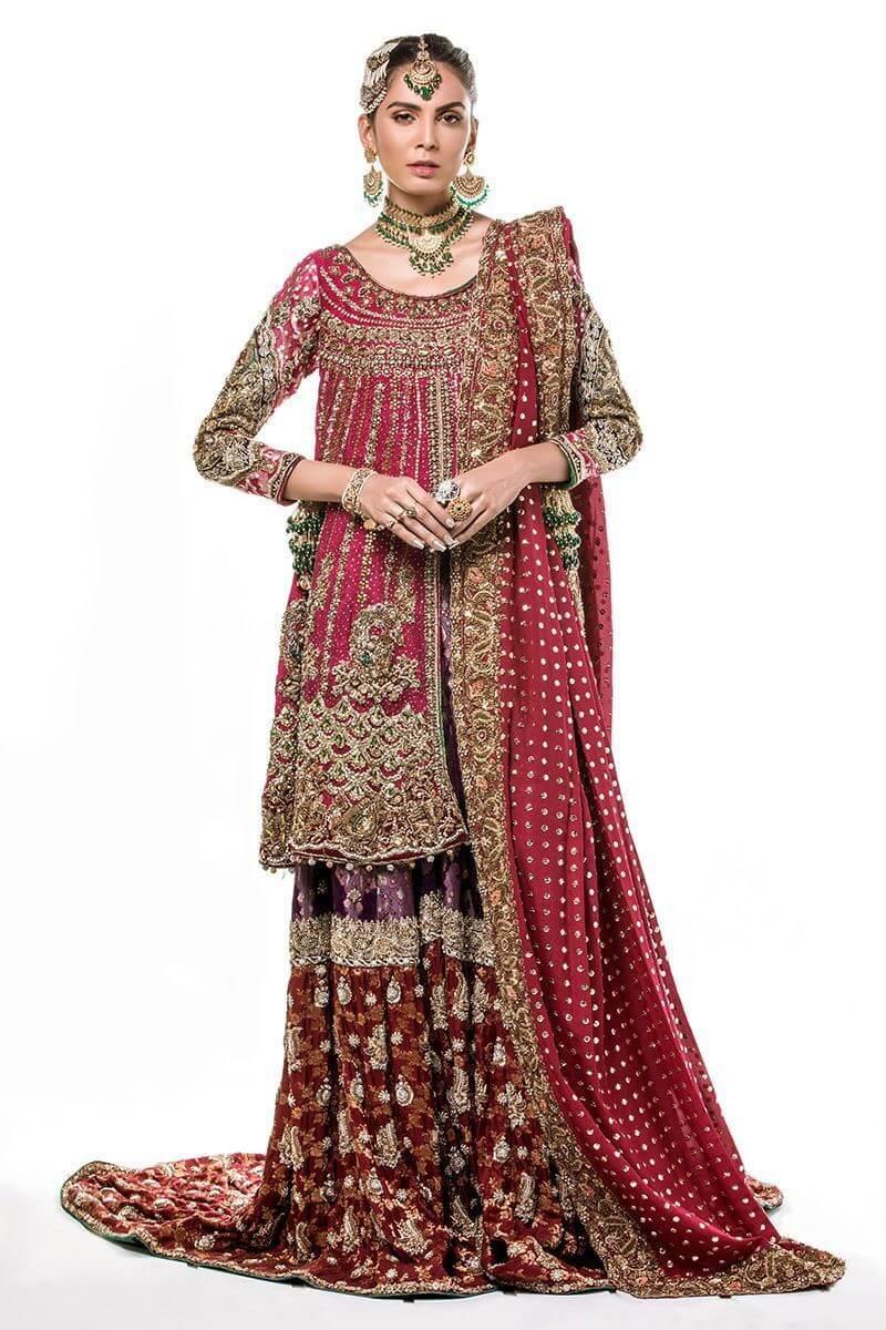 Deep pink front open zari net shirt with farshi gharara and maroon dupatta
