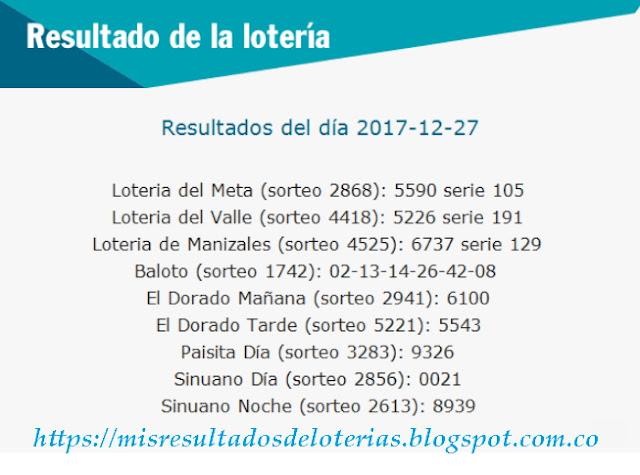 Como jugo la lotería anoche   Resultados diarios de la lotería y el chance   resultados del dia 27-12-2017
