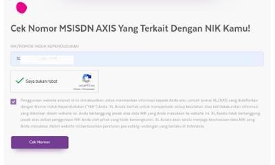 cek nomor AXIS dengan NIK