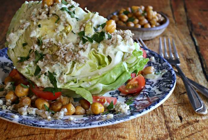 Wedge salad with herb tahini dressing, roasted chickpeas and crispy cauliflower rice.