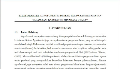 Contoh Proposal Penelitian Studi Praktek Agroforestri