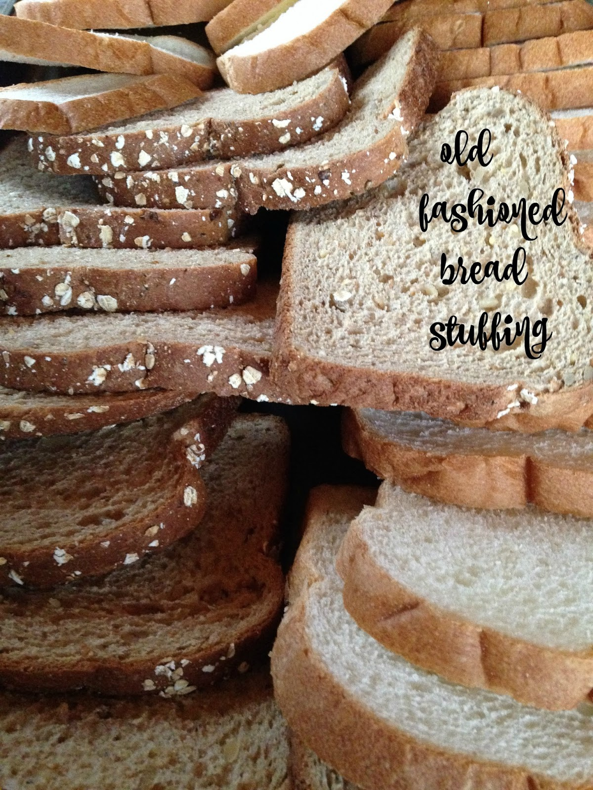 Old Fashioned Bread Dressing With  Loaves Of Bread