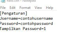 config aplikasi save dan load tersebut