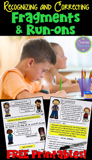 Teaching students to recognize fragments and run-ons in their writing can be difficult.  This blog post features a few tips and a FREE writing minilesson for upper elementary classrooms!