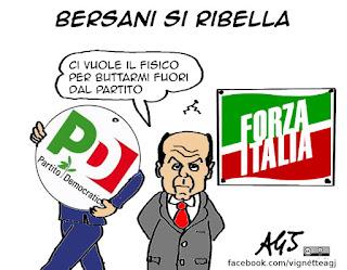 Bersani, Verdini, maggioranza, partito democratico, PD, vignetta, satira