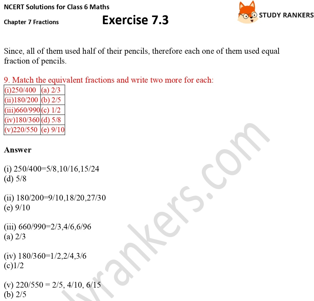 NCERT Solutions for Class 6 Maths Chapter 7 Fractions Exercise 7.3 Part 4