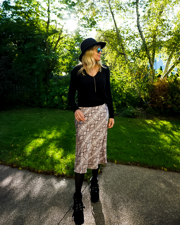 What to wear with a snakeskin skirt