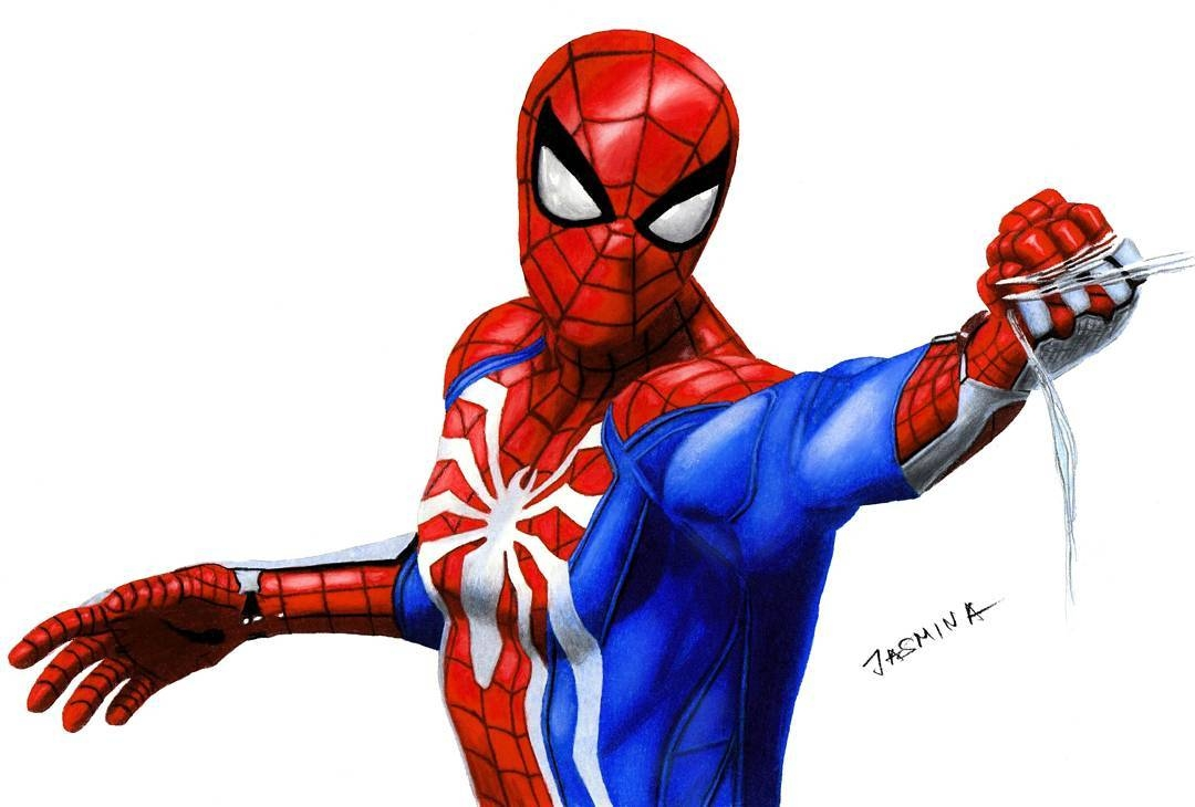 15-Spider-Man-Jasmina-Susak-Superheroes-and-Villains-in-2d-and-3d-Drawings-www-designstack-co