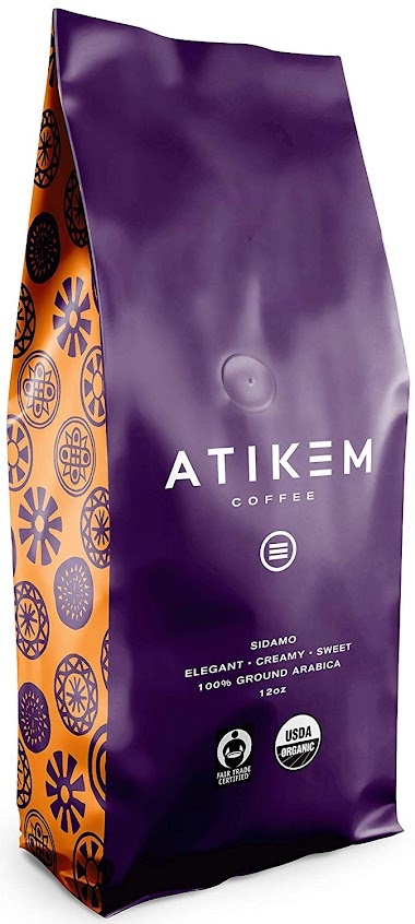 Organic Ethiopian Sidamo Coffee Ground, Creamy Medium Roast, 100% Premium Arabica Coffee, USDA Organic Fairtrade Certified Coffee (12 ounce) (Pack of 1) by ATIKEM $15.00
