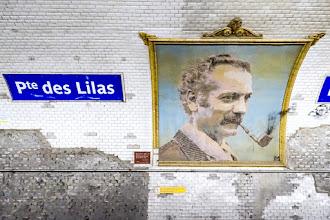 Paris : Mosaïque Georges Brassens, Station Porte des Lilas, quais de la Ligne 11, une histoire familiale de passion et d'artisanat d'art - XXème