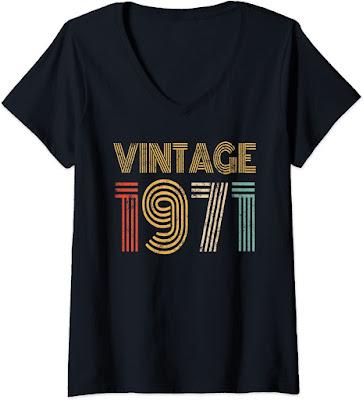 Womens 1971 50st Birthday Gift Vintage Retro Men Women 51 Years Old V-Neck T-Shirt