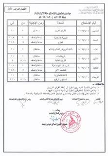 جدول امتحانات الصف السادس الإبتدائى الفصل الدراسي الأول الأزهر
