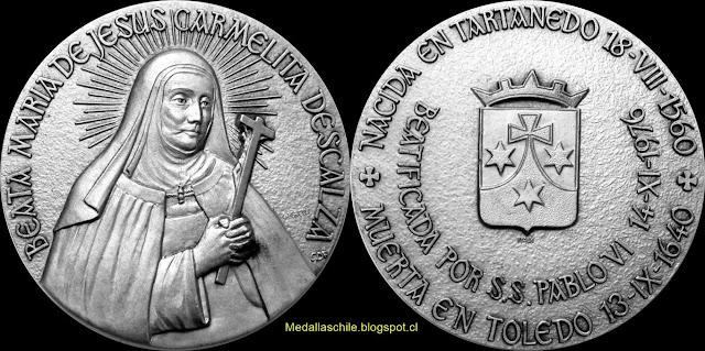 Medalla Beata María Jesús Carmelita Descalza