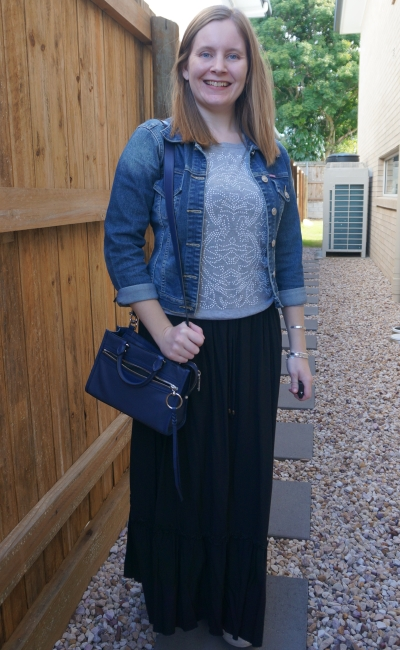 neutral grey embellished knit jumper with black maxi skirt denim jacket micro bedford bag | awayfromblue