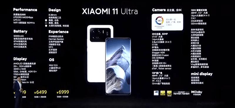 Xiaomi Mi 11 Ultra features