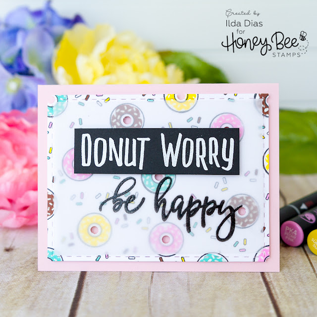 Donut Worry Card for Honey Bee Stamps Spring Release Blog Hop - Day 2 by Ilovedoingallthingscrafty