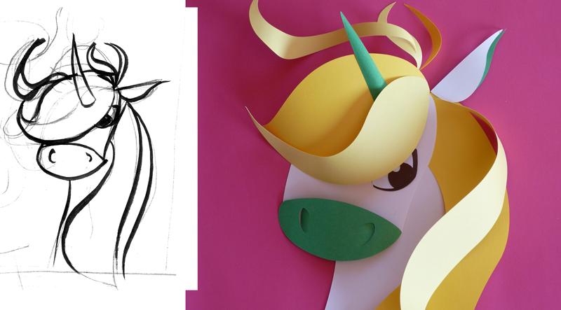 Voici mes recherches en crayonnés, puis mon installation en papier découpé de la licorne