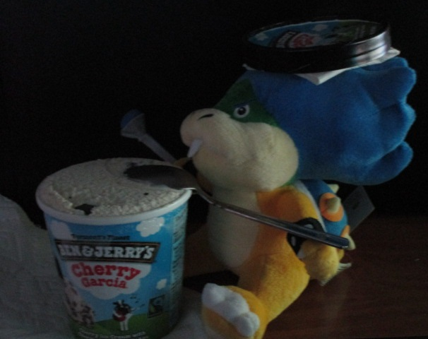 Ludwig Von Koopa plushie plushwig Ben and Jerry's Cherry Garcia ice cream spoon hat