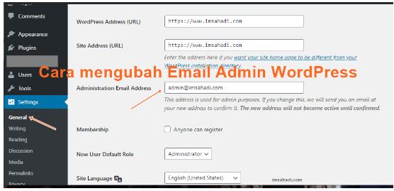 Cara Mengubah Email Admin WordPress