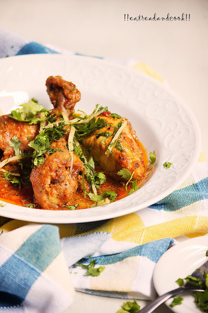 how to make Lahori Chicken Karahi recipe and preparation with step by step pictures