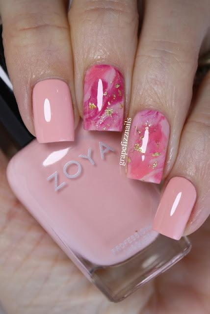 Zoya Pink Smoosh Mani