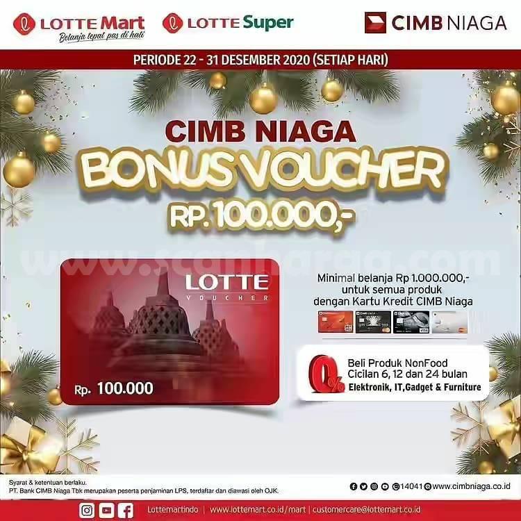 Lottemart Promo Bonus Voucher Rp 100.000 dengan Kartu Kredit CIMB