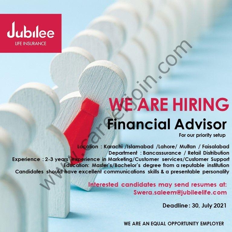 Jubilee Life Insurance Company Limited Jobs Financial Advisor