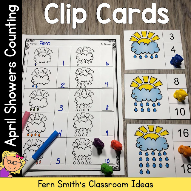 Click Here for the April Showers Counting Clip Cards