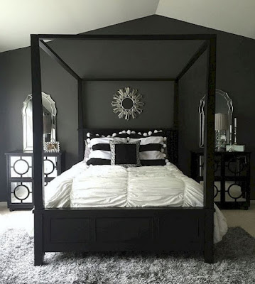 Black monochromatic bedroom example
