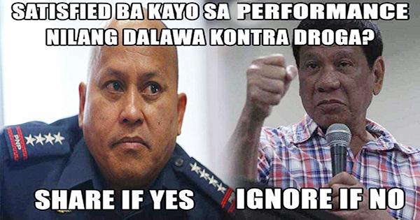 Survey Satisfied Ba Kayo Sa Performance Ni Pres. Duterte At Bato Dela Rosa?
