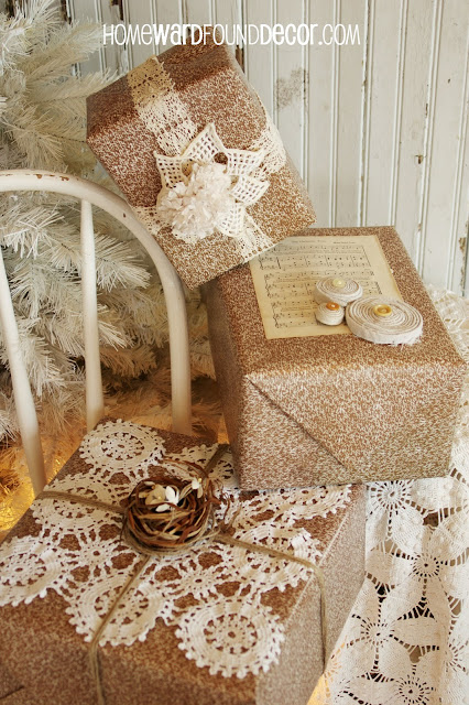 rustic, farmhouse, shabby chic, handmade, Christmas, Christmas gift wrap, burlap, lace, sweaters, upcycle, thrifted