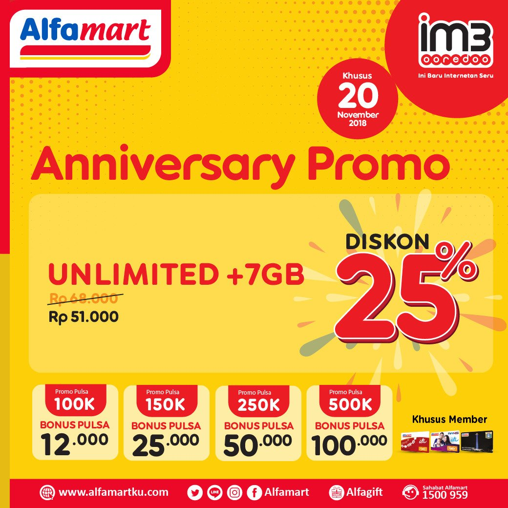 Alfamart - Promo Diskon 25% Anniversary IM3 Unlimited (HARI INI)
