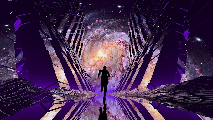 Portal no Espaço, Viajante, Silhueta, Nebulosa