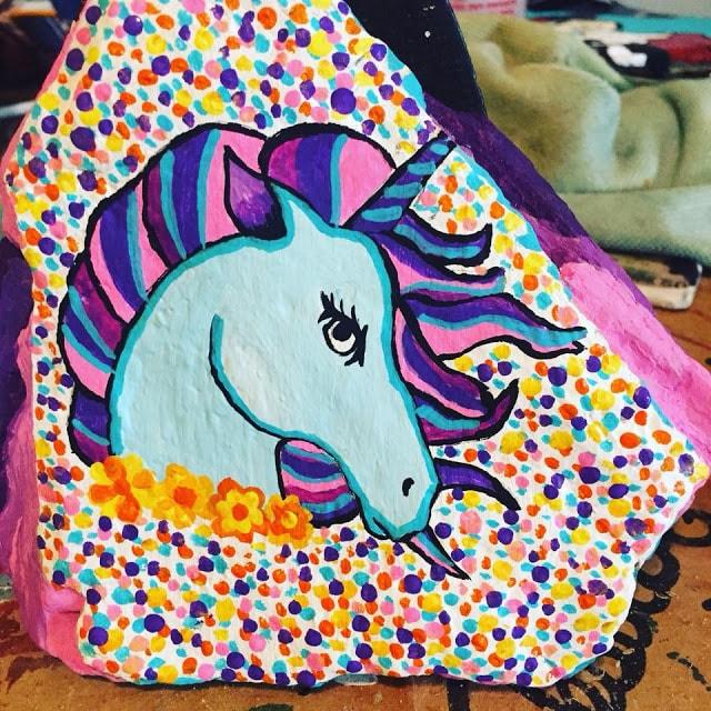 rock painting ideas with unicorns