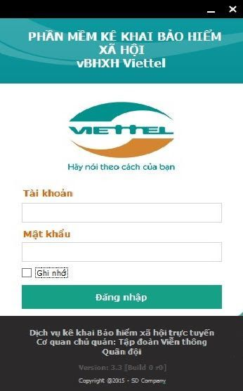 Hình 6 - Màn hình đăng nhập vBHXH Viettel
