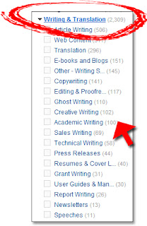 Elance.com's Writing Jobs (Categories)
