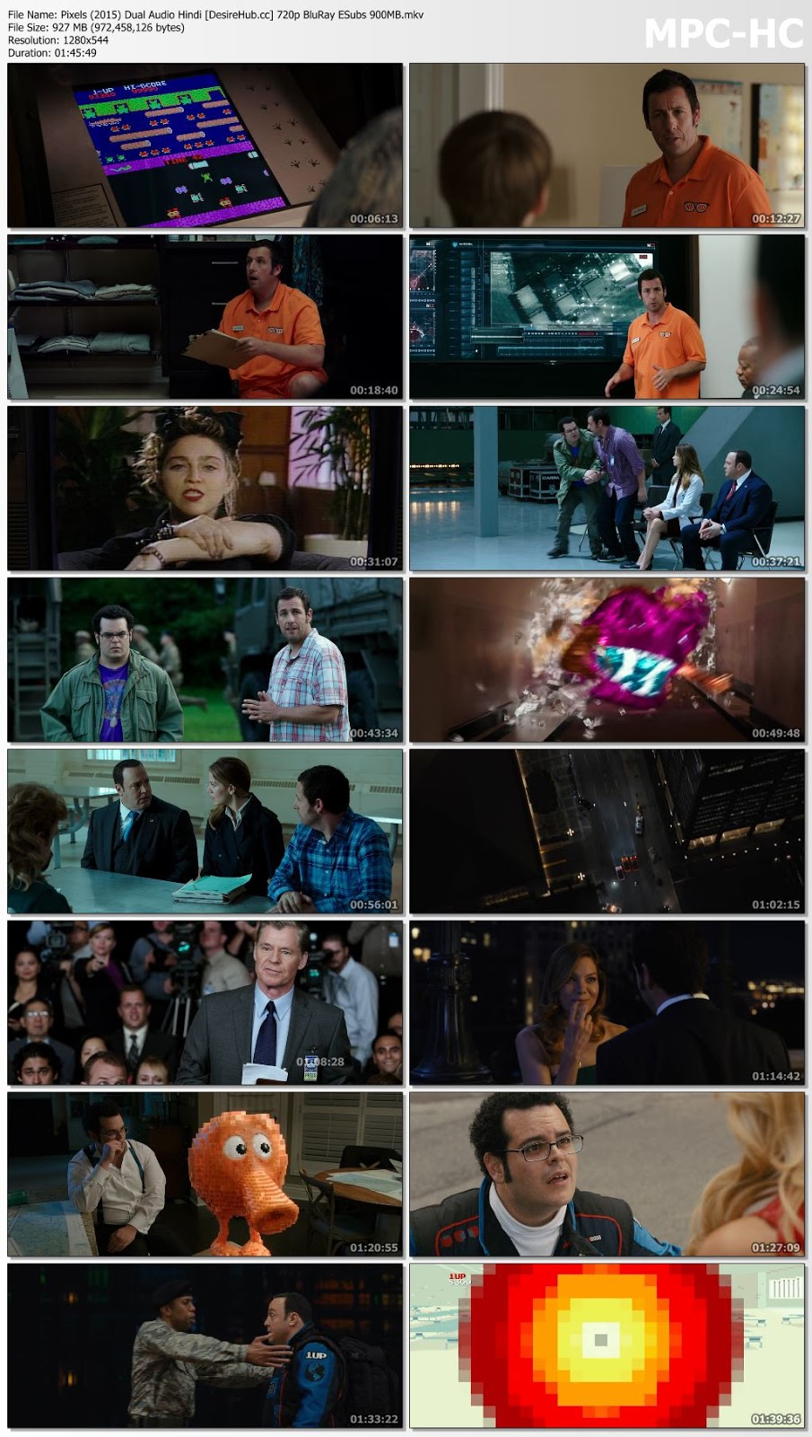 Pixels (2015) Dual Audio ORG Hindi 720p BluRay ESubs 900MB Desirehub