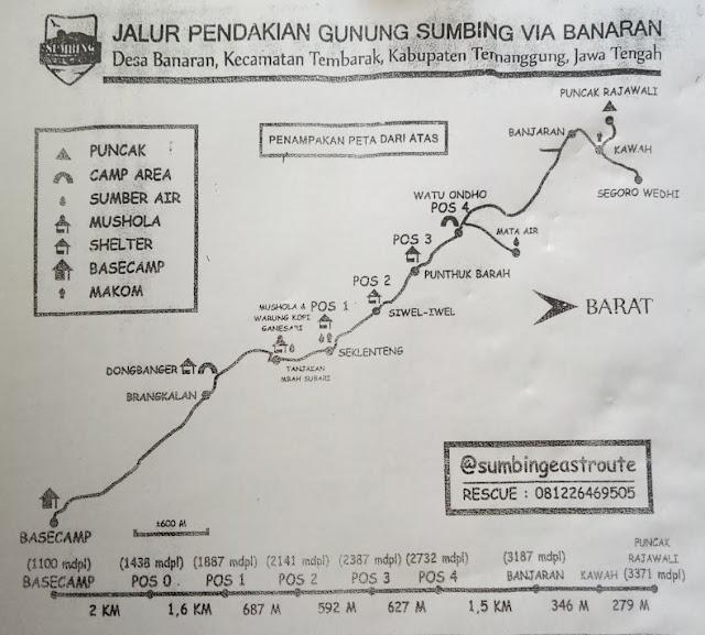 Peta Pendakian Gunung Sumbing via Banaran