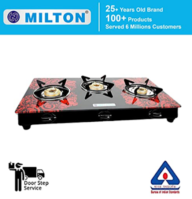 MILTON ISI Certified Premium 3 Burner Glass Top Manual LPG Stove with MS Frame and Brass Burners