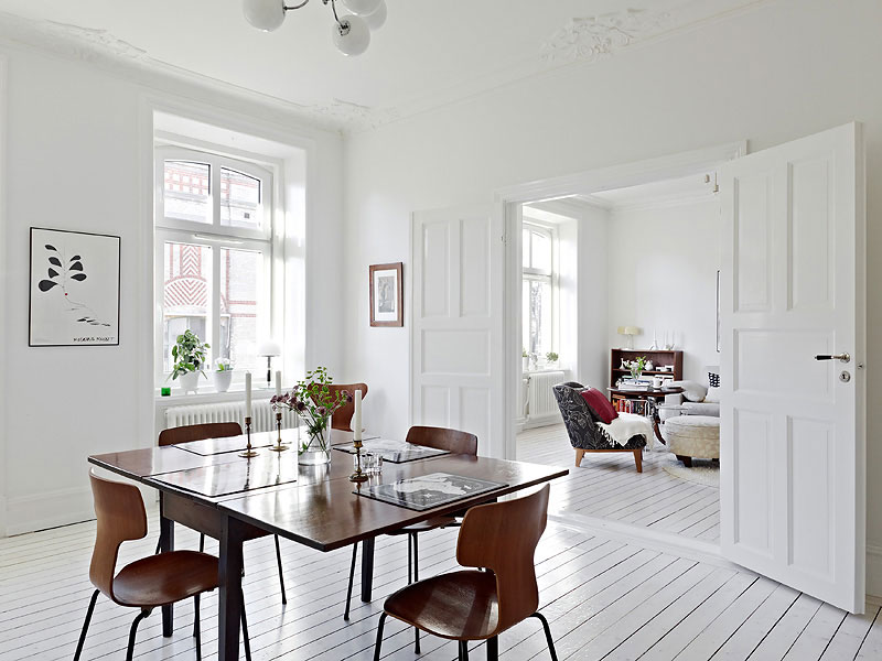 Dining Room with White Floors