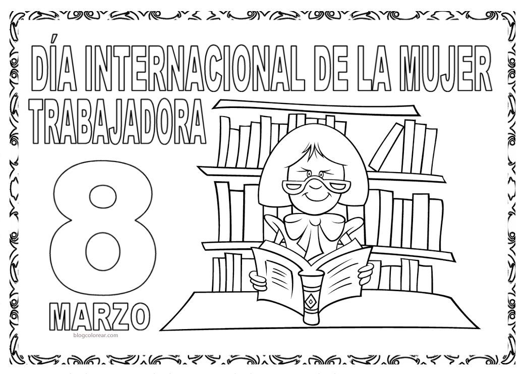 Dibujos De La Mujer Maravilla Para Colorear E Imprimir: Dibujo Día De La Mujer Trabajadora Para Colorear
